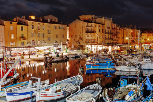 St Tropez Harbour at night