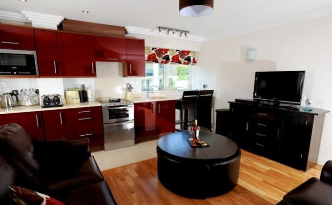 Inside the self-catering apartments at Studland Dene